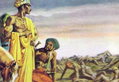 Ашока, жестокий воин, обратился в буддизм после того, как увидел поле битвы